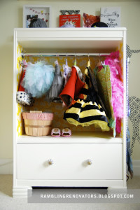 a costume closet is a great way to store toys