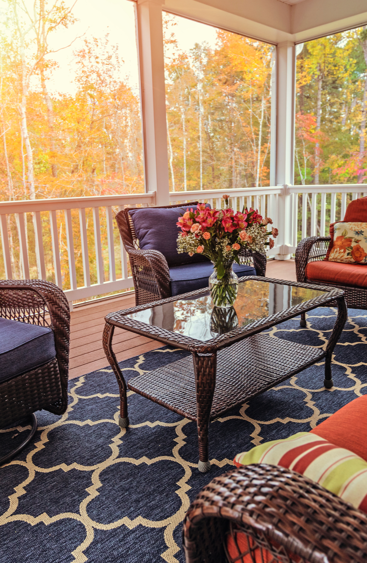 Adding a rug to your porch adds such a cozy feeling. There are tons of ways to improve and renovate your front porch, but I've gathered a few of my favorite DIY porch projects together.