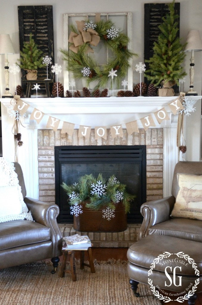 christmas-farmhouse-mantel-joy-banner-in-front-of-mantel-stonegableblog-com_
