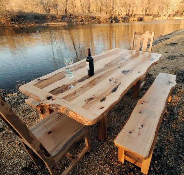 Furniture-Unique-Outdoor-Dining-Set-Idea-With-Light-Brown-Wooden-Dining-Table-With-Black-Bottle-Plus