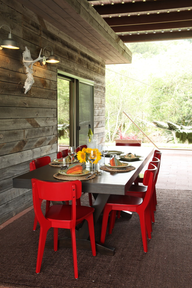 Marvelous-Bungee-Chair-fashion-Other-Metro-Rustic-Porch-Image-Ideas-with-Barn-Light-covered-patio-outdoor-dining-outdoor-rug-patio-furniture-red-chairs