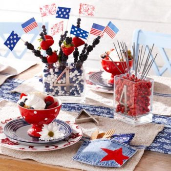 Set Your Table Ablaze! 10 DIY 4th of July Centerpieces| Fourth of July Party Centerpieces, Centerpieces for the 4th, Holiday Centerpieces, DIY Holiday Centerpieces, Holiday Tablescape, Fourth of July Tablescape Ideas, Popular Pin