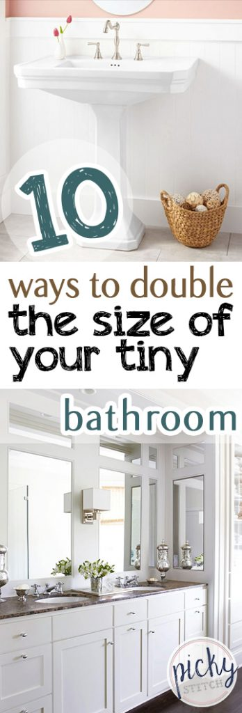 10 Ways to Double the Size of Your Tiny Bathroom| Bathroom, Bathroom Decor, Bathroom Improvements, Home Improvement, Home Improvement Projects, DIY Bathroom, Bathroom Remodel #Bathroom #DIYHome #HomeImprovement