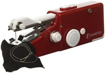 red smartex handheld sewing machine stitching with thread on black fabric