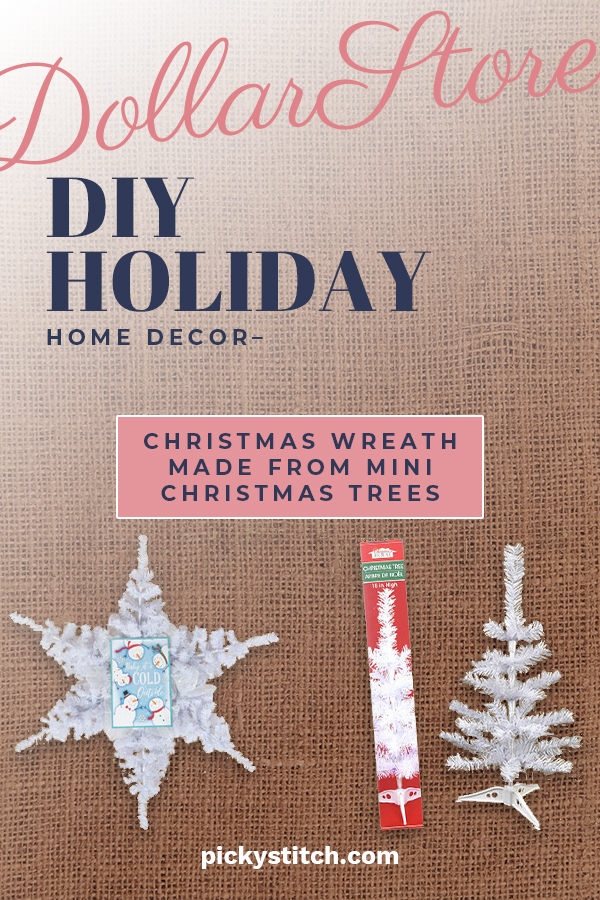 Is the Dollar Store cool or what? That place is loaded with affordable ideas that just jump off the shelf. Today we are going to show you about one of those ideas. It is super cute and so easy. One stop shopping because all the stuff comes from The Dollar Store. Take a look at how easy it is to make this DIY holiday wreath using mini trees. I love crafts like these because it's hard to go wrong. Keep reading for more info about these wreaths. #dollarstorecrafts #holidaycrafts #DIYdollarstore