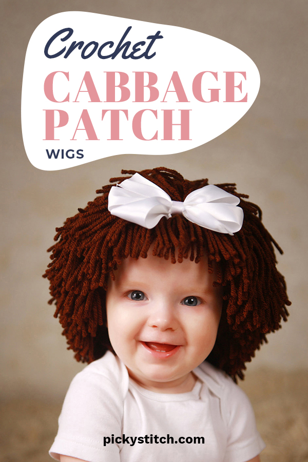 WARNING! Viewer Discretion Advised. The following post is intended for mature audiences ... like parents, grandparents, aunts and uncles because it contains graphic images of adorable and or irresistible crocheted cabbage patch wigs for babies. Read on for ideas, free patterns, and more! #cabbagepatchwigs #freecabbagepatchwigpatterns #crochetprojects