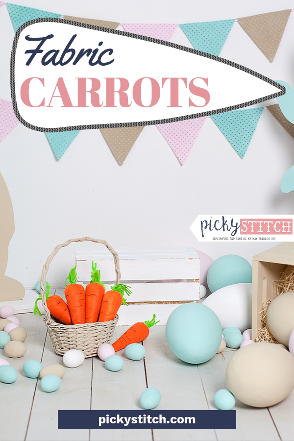 """What would Easter be without carrots for the Easter bunny? Make this holiday be the best Easter ever with our fabric carrots This is an easy sewing project that fills your home with cute Easter decor. Give them as gifts and make your friends """"sew"""" hoppy, I mean, happy. Read on for more info including a free pattern. You pick the fabric, use the pattern, then reap what you sew. #eastersewingprojects #fabriccarrots #fabriccarrotpattern"""