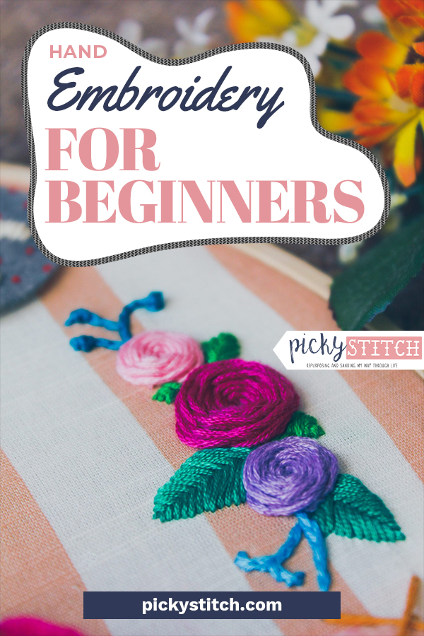 It's easy to start hand embroidery for beginners, all you need is some thread, a needle, and this handy tricks. You'll be a pro in absolutely no time. #pickystitchblog #crafts #embroidery