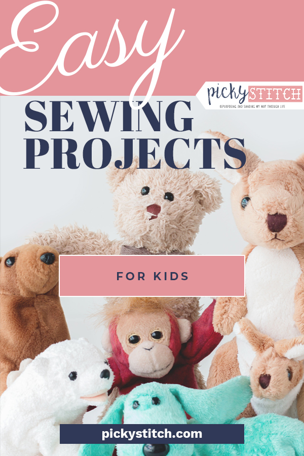 Gather your kiddos around, young and old, and have them get their hands busy with these super fun and easy sewing projects for kids of all ages. Parental supervision is recommended, of course, but you will be surprised at how simple these projects are. #sewing #kids #pickystitchblog