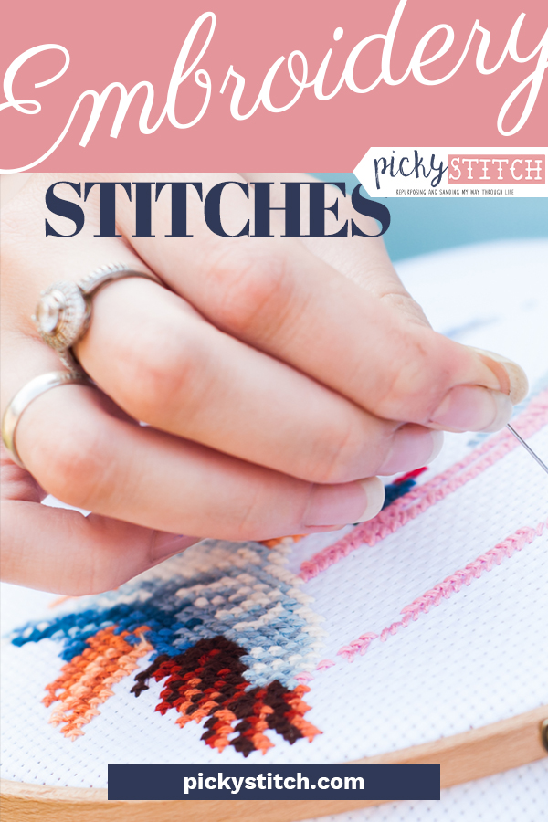 Embroidery is becoming one of my favorite crafts! It's fun to experiment with the different stitches for a little pizzazz. Use this tutorial to learn how to sew ten different embroidery stitches. One of these is PERFECT for that pair of jeans you always wanted to customize. #pickystitchblog #crafts #embroidery