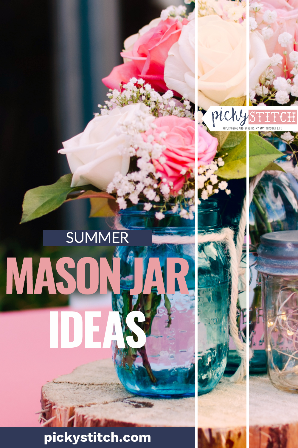 Summer Mason Jar Ideas Craft Projects Decor Centerpieces Crafts Pickystitch Com