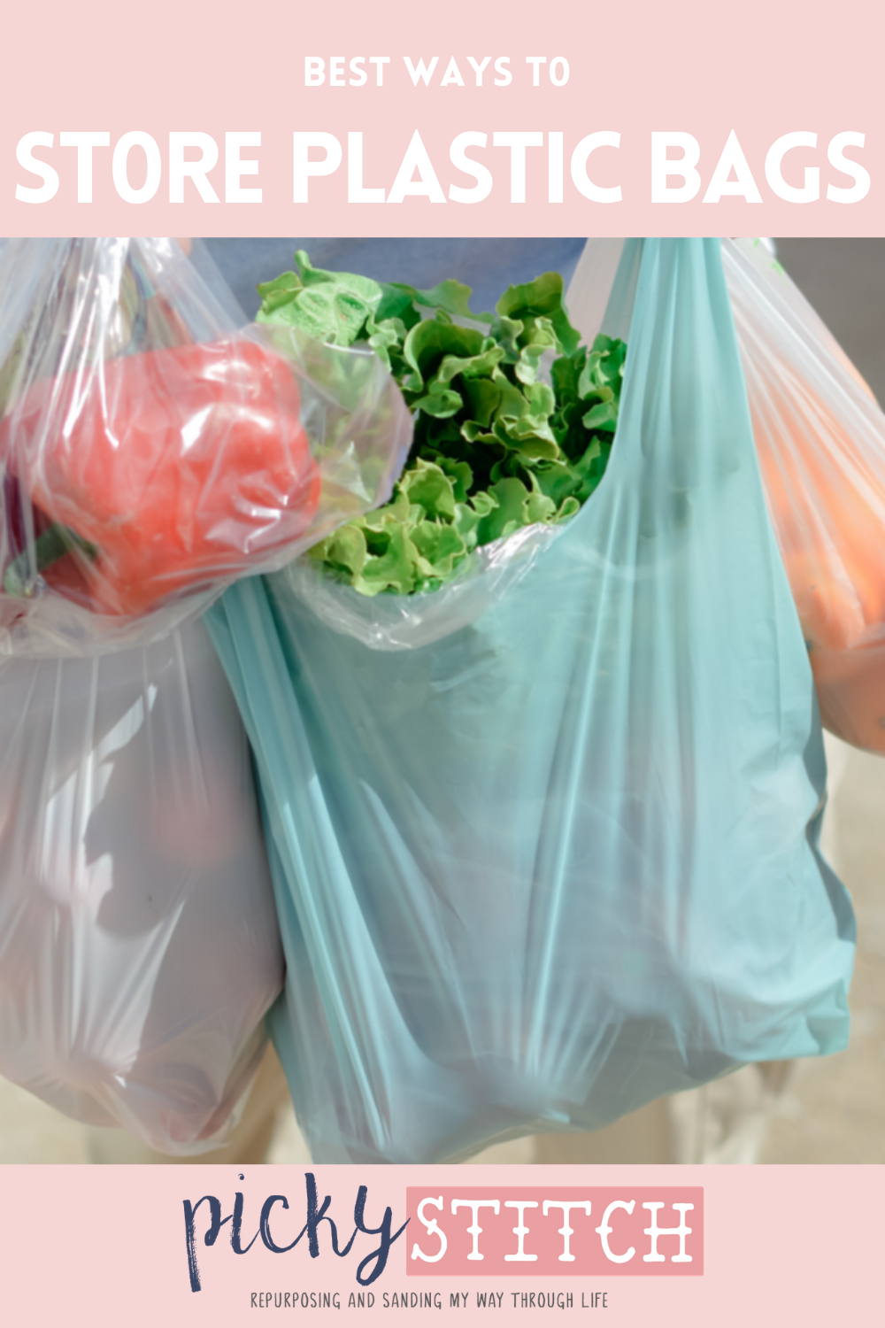Plastic bags can be a pain in the butt to store! Use these easy tips and tricks for simple ways to store plastic bags in your own home. These will help you save space AND stay organized. #organization #home #pickystitchblog