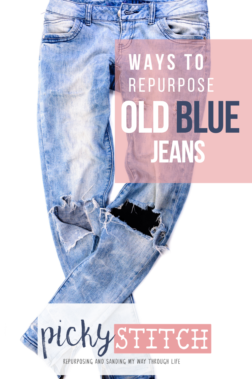 Your favorite pair of old blue jeans are finally worn out. They have definitely seen better days. But, you don't have to throw them out. Take a look at some great ways to reuse them by reading this post. DIY crafts for your favorite old blue jeans. Because parting with them just isn't going to happen. #Oldbluejeansideas #resuseoldbluejeans #repurporseoldbluejeans