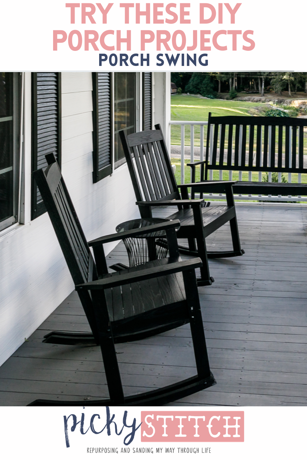 Liven up your front porch with an easy DIY porch swing and a few other great DIY porch projects. Your porch says a lot about your home, make sure that you try them out. #diyporchswing #diy #pickystitchblog