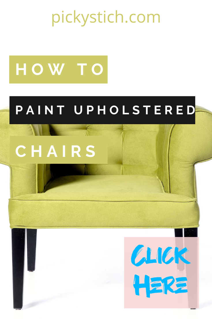 Maybe you inherited an old upholstered chair or just have one from back in the day. I know, I know, they are a little out of style with weird patterns. But, don't throw it out. A little paint can create a whole new look and one that you will love. Keep reading to learn how. #DIYprojects #paintingfurniture #paintupholstery #pickystitchblog