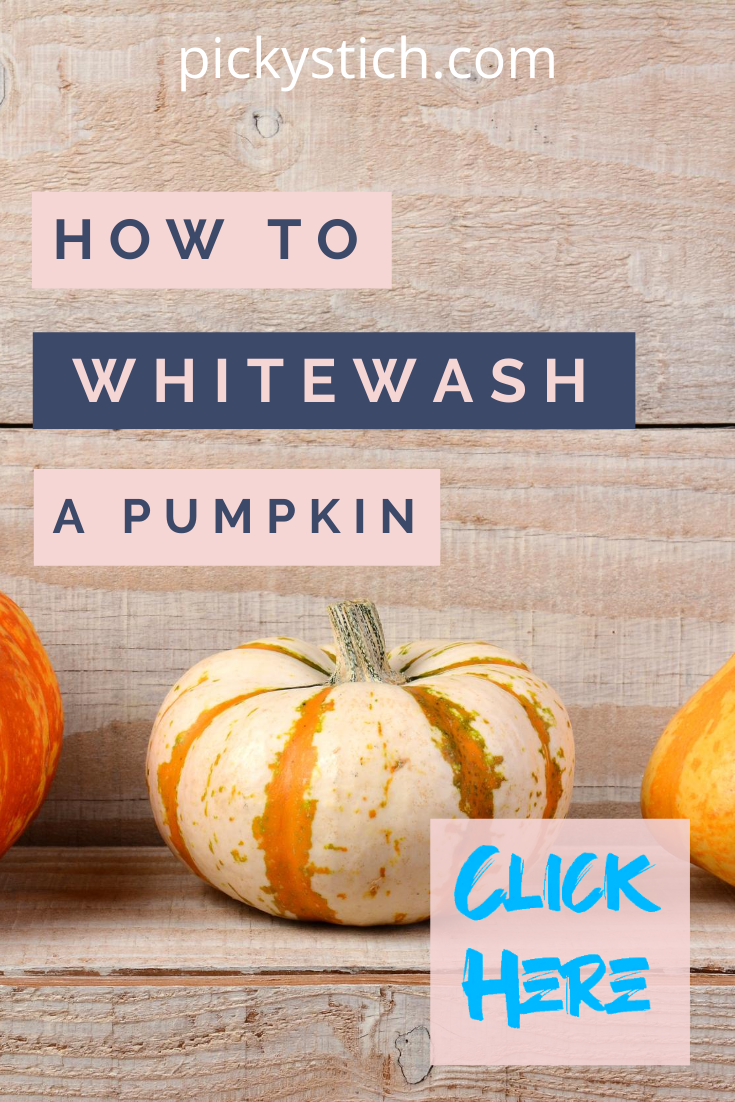Not all pumpkins need to be orange. In fact, a big trend is whitewashing them. This post is full of ideas how to whitewash a pumpkin. If you love Halloween or just enjoy pumpkins, this idea is a fresh new twist to the standard orange look. Give it a try! #crafts #howtowhitewashpumpkins #pumpkins #pickystitchblog