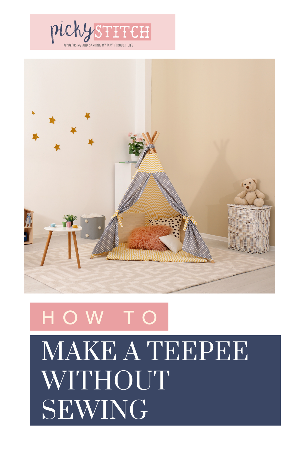 Pickystitch.com has all the best DIY project ideas! Find fun activities that you can do even as a beginner. Check out these awesome no sew teepees you can make at home for your kids!