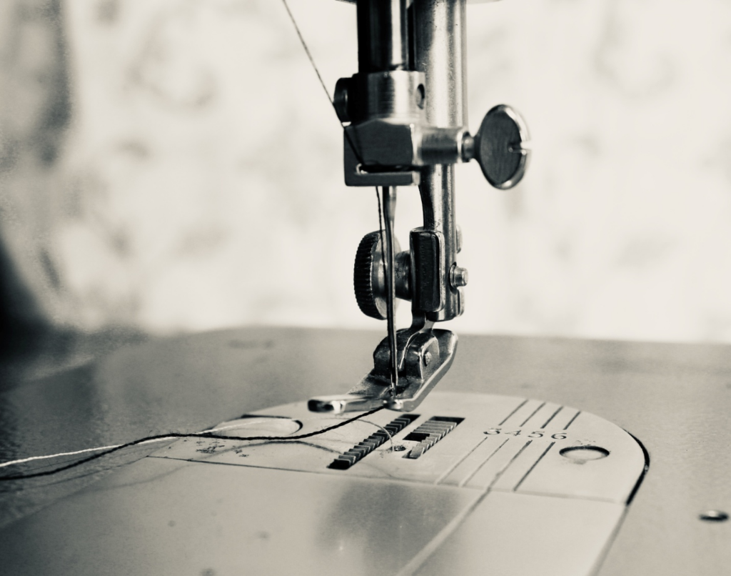 Leather sewing in grayscale